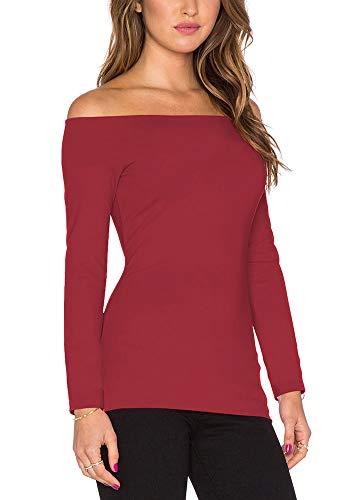 Strapless Sweater (Bestisun Long Sleeve Casual Shirts Basic Plain Classic Tee Top Fashional Lady Elegant Tunic Sweater Pullover Strapless Tube Super Soft Slim T-Shirts Wine M)