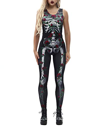 Katblink Women's Scary Floal Bone Printed Party Stretchy Halloween Catsuit ()