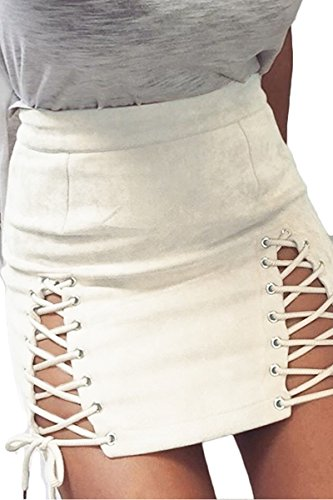 Skirt Pleated White Sequin (Meyeeka Ladies White Plus Size Sexy Mini Skirt High Waist Cutout Lace up Skirts White XL)