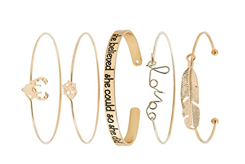 Head Charm Gold Plated - Beauty7 Set of 5 Mixed Women Layered Stackable Open Cuff Multi Bangle Bracelet Set Deer Feather Love Snowflakes Faith Quote Gold Plated