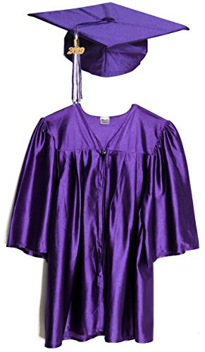 Large Purple Shiny Preschool and Kindergarten Graduation Cap and Gown, Tassel and 2019 Charm