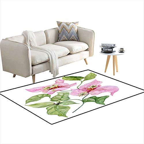 Area Rugs for Bedroom Beautiful Bougainvillea Flowers on a twig wi Green Leaves Isolateon White backgrounWatercolor Painting 4'x14'