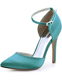 Women's Pointed Toe High Heel Ankle Strap D'Orsay Satin...