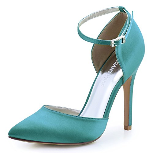 Classy High Heels (ElegantPark HC1602 Women's Pointed Toe High Heel Ankle Strap D'orsay Satin Dress Pumps Turquoise US 8.5)