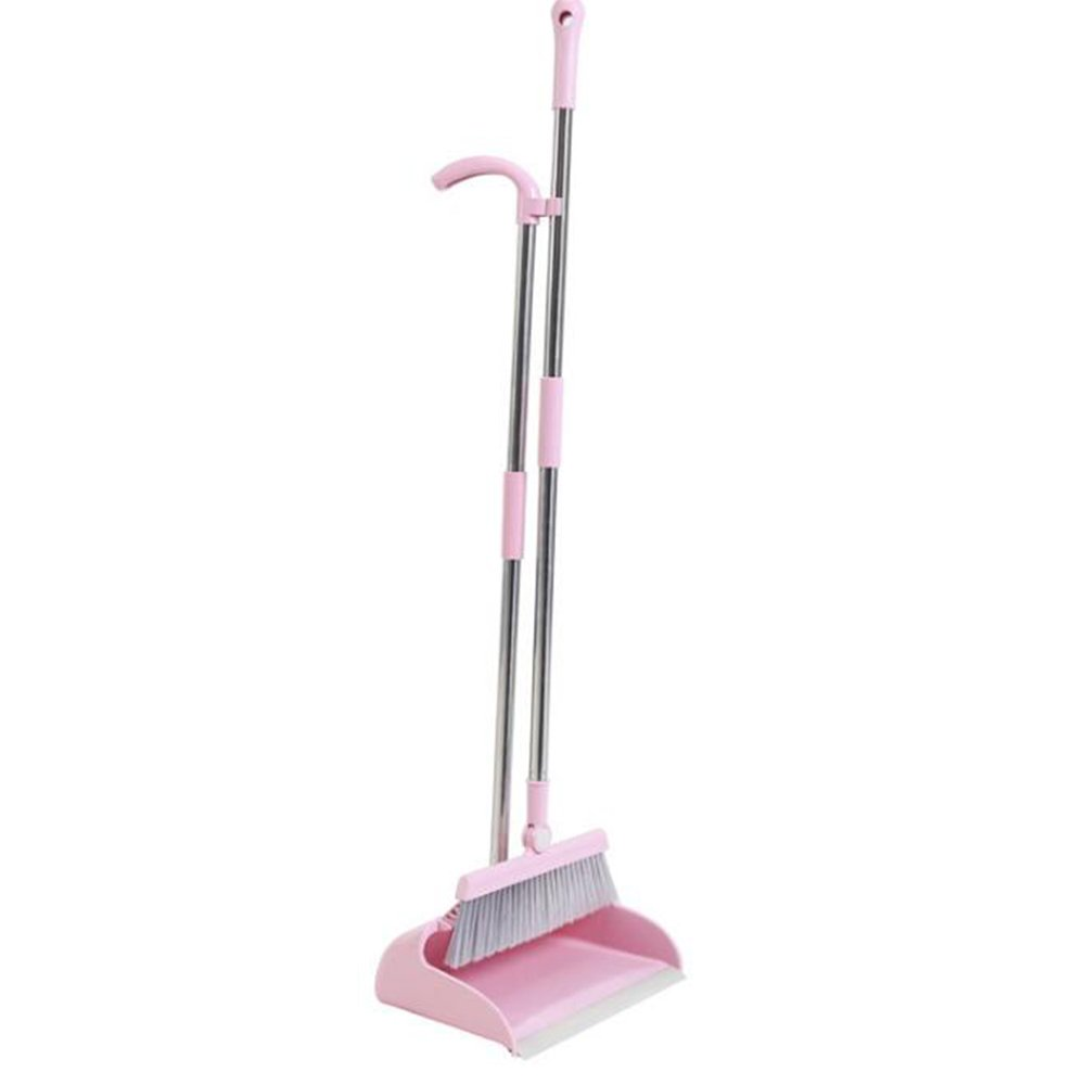 Everyfit Brooms and Dustpans Sets Upright Brooms Grips Sweep Set Lobby Home Kitchen Office Commercial Hardwood Floor Use Brooms (Pink)