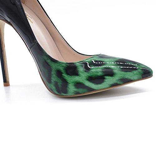 Genshuo Moda Donna Scarpe A Punta Leopardo Pompe Stampate Tacco Alto Stiletto Sexy Slip On Scarpe Vestito Verde Gradiente Leopardo