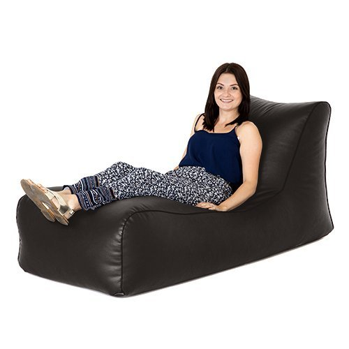 Hippo Black Faux Leather Comfy Sofa Bean Bag Lounger Seat, Great Indoors Outdoors
