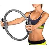 Pilates Ring- Body Gym Magic Circle- Thigh Toner Medium Resistance - Dual Gripped Handles - Home Exercise Equipment - Fitness Equipment-Yoga Wheel-15 Inch Gray