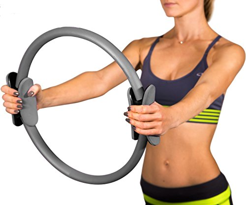 Pilates Ring Body Gym Magic Circle Thigh Toner Medium Resistance Dual Gripped Handles Home Exercise Equipment Fitness Equipment Yoga Wheel 15 Inch Gray