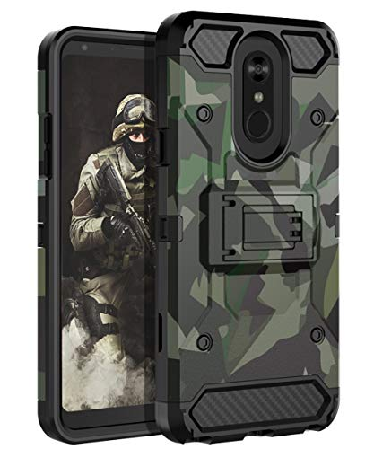 HUATRK LG Stylos 4 Case,LG Stylo 4 Plus Case,LG Q Stylus Case Kickstand Three Layer Heavy Duty Camo Shockproof Protective Cover,Camouflage