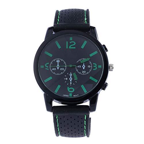 oukery Quartz Casual Cool Big Dial Silicone Strap Sports Style Men Watch Accurate - Green Dial Light Silicone