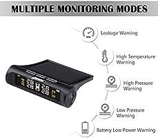 mooderff Tpms Syst/ème de Surveillance de Pression de Pneu LCD /Écran en Temps R/éel 4 Capteurs Externes Solaire Durable et Fiable Contr/ôle Automatique Syst/ème Dalarme Universel sans Fil