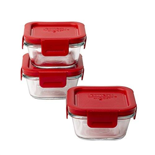 Pyrex 4-lock Square Storage 6 Piece Set w/Red Lids