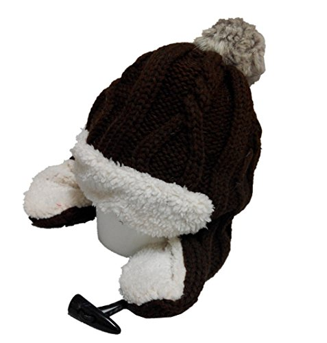 Dealzip Inc® Fashion and Lovely Warm Earmuffs Ear Braided Pattern With Fleece Women Lady Winter Knitting Beanie Crochet Casual Ball Hat - Fair Fahion