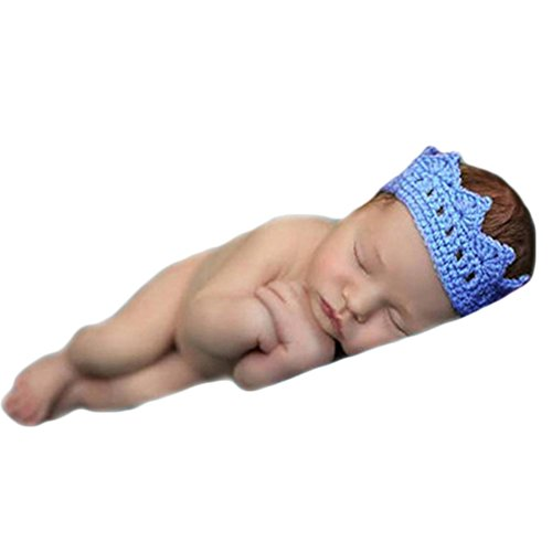 Baby Photography Props Boy Girl Photo Shoot Outfits Newborn Crochet Costume Infant Knitted Headdress Crown (Blue)