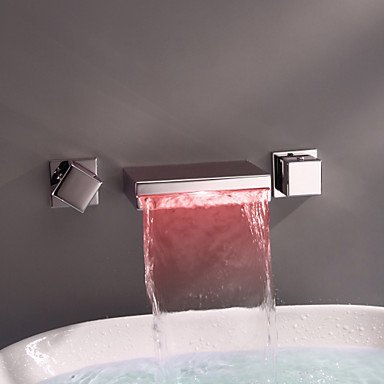 Greenspring Contemporary Widespread Wall Mount Waterfall 3 Colors LED Bathroom Sink Faucet - Wall Mount Widespread Sink