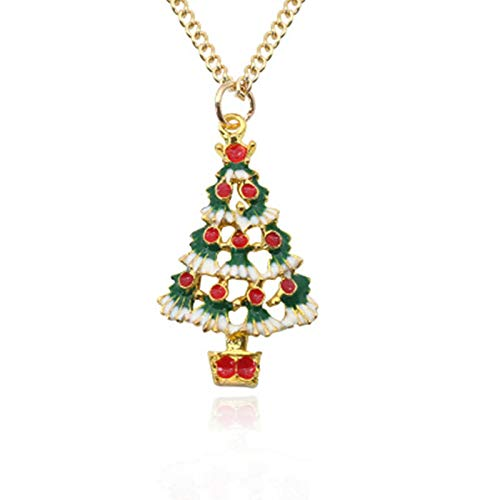Edary Christmas Tree Necklace Pendant Gold Santa Claus Snowman Jewelry Gift for Women and Girls Red and Green]()