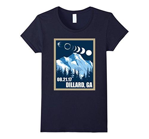 Womens Dillard  Georgia Solar Eclipse 2017 Tshirt Small Navy
