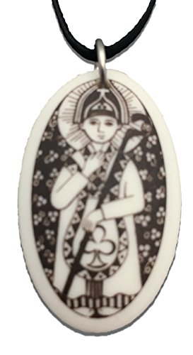 (Patron Saints St Patrick Porcelain Oval Medal on Braided Cord of Ireland)
