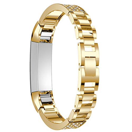 Gold Rope Metallic Vintage - Coohole Fashion Watch Bands Metallic Drilled Wrist Straps Braceletor Replacement Quick Release Choose Color Suitable for Fitbit Alta Smartwatch Series