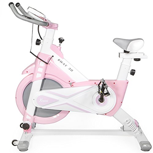 XtremepowerUS 29lbs Exercise Bike Pro w/ Articulating Frame Technology (Pink)