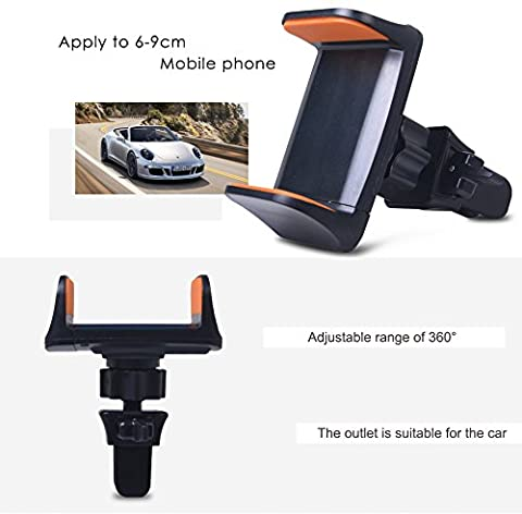 2017 New Design, Air Vent Phone Holder Car Mount with Quick Easy Release Button and 360 Degree Rotation Cradle for iPhone 7 Plus/7/6s Plus/6s/SE/5, Samsung Galaxy Note, Nexus, (Cellular Car Alarm)