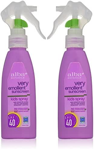 Alba Botanica Natural Protection Kids Spray SPF 40 Very Emollient Sunscreen, 4 Ounce Spray Bottle (pack of 2)