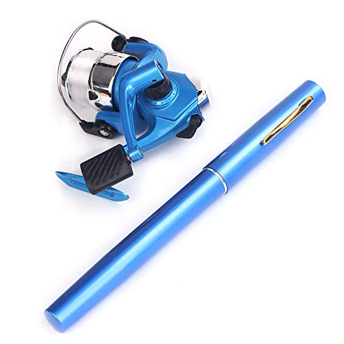 Sunsbell Mini Fishing Rod Combos with Telescopic Fishing Pole, Lightweight Portable Pocket Pen Fishing Rod for Outdoor Fishing (Blue)