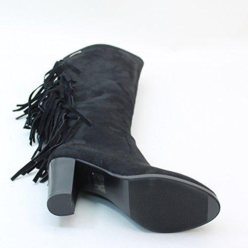 Nieuw Brieten Dames Ruige Dikke Hak Zwarte Knie Hoge Laarzen