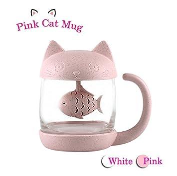 Taza de té de cristal del gato Taza De Agua Bottle-With Fish Tea Filtro filtro de infusión 250ml (8oz) (Rosa): Amazon.es: Hogar