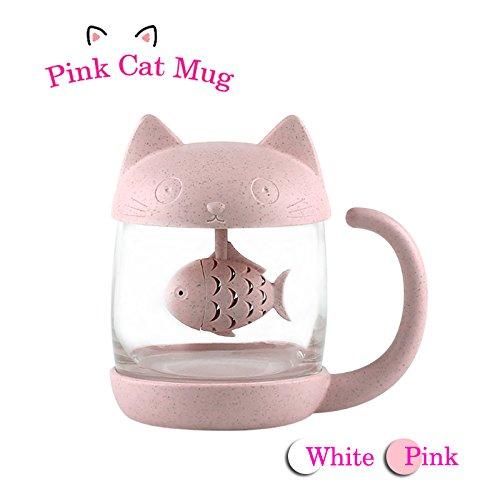 BigNoseDeer Cat Glass Tea Mug Water Bottle-With Fish Tea Infuser Strainer Filter 250ML(8OZ) (Pink)