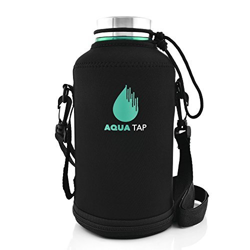 AquaTap 64-Ounce Insulated Food-Grade Stainless Steel Water Bottle for Sports Hydration, Camping Essentials Canteen, and Craft Beer Growler