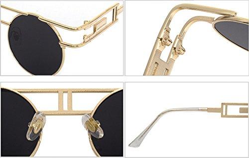Hellomiko Aviator rondes métal Lunettes Gris soleil de vintage en Lunettes gothique Or Steampunk f8xrfwBqH