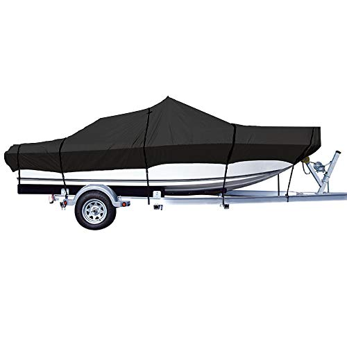 "iCOVER Trailerable Boat Cover- Water Proof Heavy Duty,Fits V-Hull,Fish&Ski,Pro-Style,Fishing Boat,Runabout,Bass Boat,up to 20ft-23ft Long and 100""Wide,Black,B7501E"