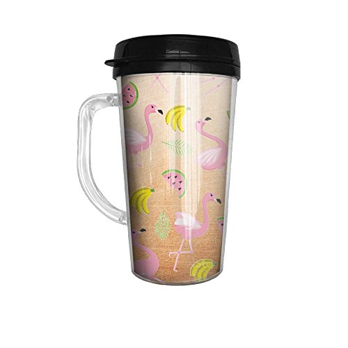 Taiji Coffee Mug (Tropical Flamingo Pattern Leakproof Tea Cup With Handle, 450ML)