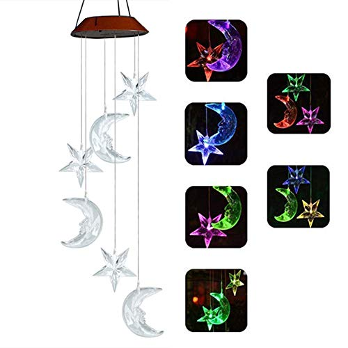 Sunklly LED Solar Moon and Stars Wind Chimes Outdoor - Waterproof LED Changing Light Color Wind Chime, Six Moon and Stars Wind Chimes for Home, Party, Night Garden Decoration (Moon Chime)