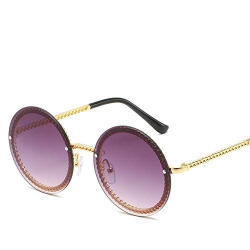 Vintage Rimless Round Sunglasses for Women Chain Shape Small Designer Sunglasses Female Sun Glasses Eyewear UV400,2]()