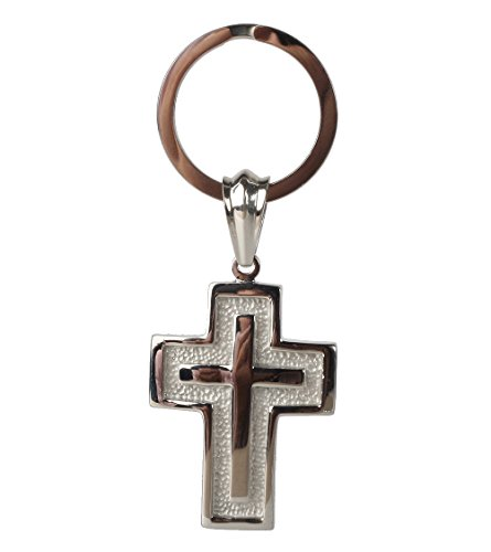 Cross Key Ring - RUTH&BOAZ Cross 316L Stainless Steel Strong Key Holder Key Ring Key Chain (A)