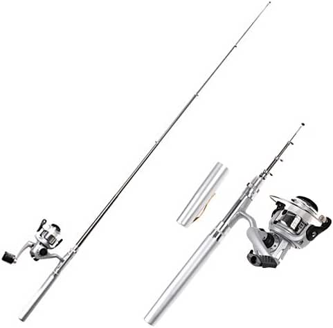 HDE Pocket Size Pen Shaped Collapsible Fishing Rod Pole and Spinning Reel Combo