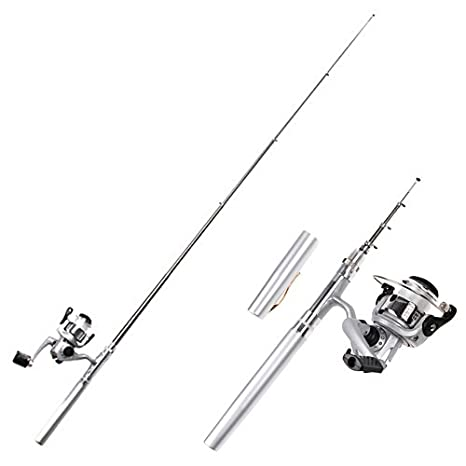 Image result for HDE Pocket Size Pen Shaped Collapsible Fishing Rod Pole and Spinning Reel Combo