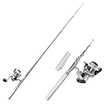 amazon hde mini collapsible aluminum pocket pen style fishing Boating Push Pull Pole amazon hde mini collapsible aluminum pocket pen style fishing bo rod bait cast spinning reel spinning rod and reel bos sports outdoors