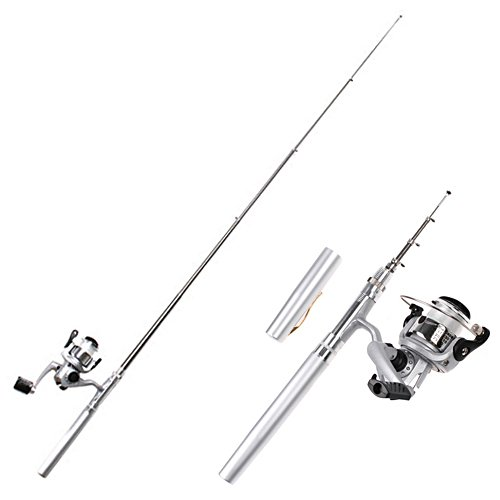 HDE Mini Collapsible Aluminum Pocket Pen Style Fishing Combo Rod Bait Cast Spinning Reel