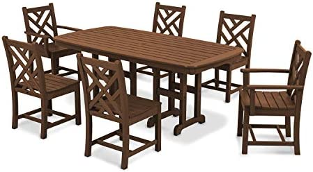 POLYWOOD PWS121-1-TE Chippendale 7-Piece Dining Set