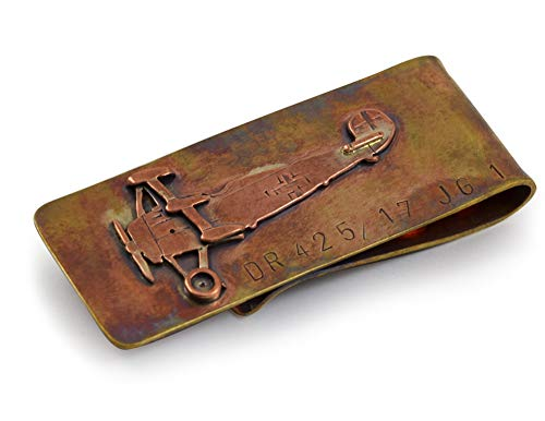 Artisan-Crafted Bronze Money Clip with Red Baron Fokker Aircraft Design, American Made (Money Keepsake Clip)