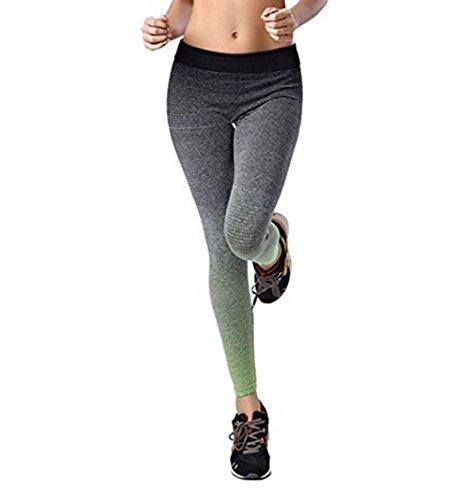 Y&L Mujeres Deporte Pantalones De Las Polainas De Entrenamiento De Ejecución De Yoga Mallas De Fitness Cómodo Troursers Verde
