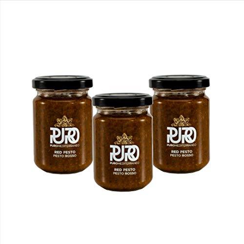 Puro Mediterraneo Zongedroogde tomaat Italiaanse rode pesto saus, authentieke en traditionele Italiaanse smaak in een…