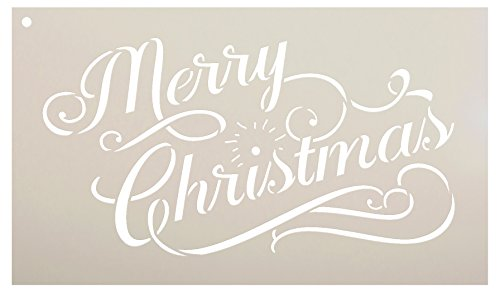 Merry Christmas Stencil by StudioR12 | Elegant Vintage Word Art - Reusable Mylar Template | Painting, Chalk, Mixed Media | Use for Journaling, DIY Home Decor - CHOOSE SIZE (12 x 7)