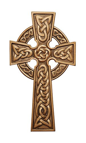 James Brennan Knotted Irish Bronze Toned Celtic Knot Wall Cross in Antique Gold Finish (8 Inch)