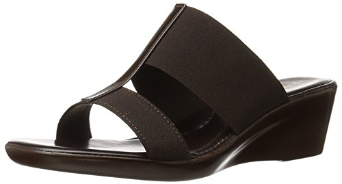 ITALIAN Shoemakers Women's 400m Wedge Sandal, Chocolate, 8 M (Chocolate Brown Italian)