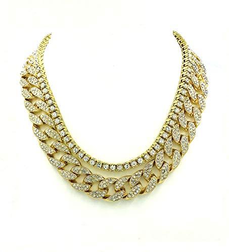 Shiny Jewelers USA Mens Iced Out Hip Hop Gold Tone CZ Miami Cuban Link Chain & 1 Row CZ Chain Choker Necklace Set (20